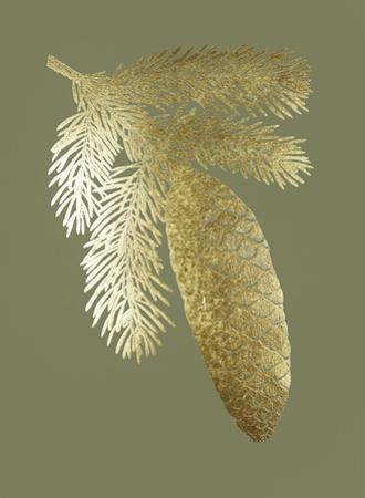 Gold Foil Pine Cones IV on Mid Green by Vision Studio