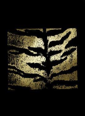 Gold Foil Tiger Pattern on Black by Vision Studio