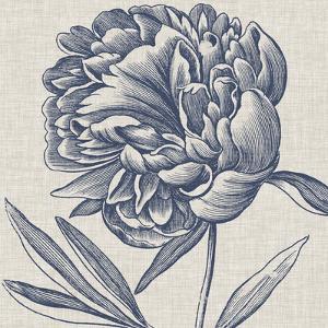 Indigo Floral on Linen II by Vision Studio
