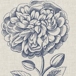 Indigo Floral on Linen III by Vision Studio