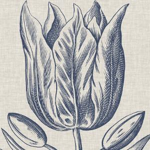 Indigo Floral on Linen VI by Vision Studio