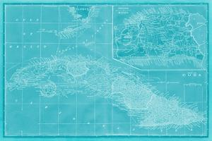Map of Cuba in Aqua by Vision Studio
