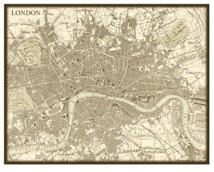 Sepia Map of London by Vision Studio