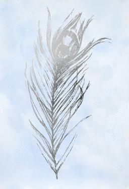 Silver Foil Feather I on Blue by Vision Studio