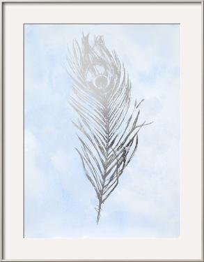 Silver Foil Feather II on Blue by Vision Studio