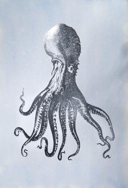 Silver Foil Octopus I on Blue Wash by Vision Studio