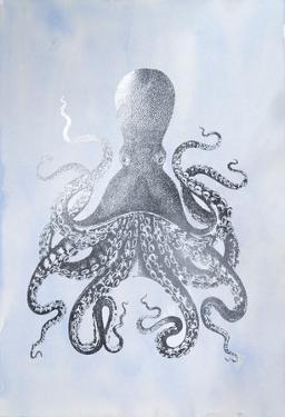 Silver Foil Octopus II on Blue Wash by Vision Studio