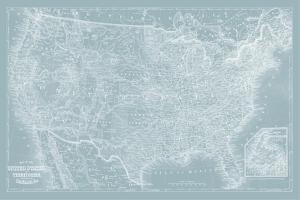 US Map on Aqua by Vision Studio