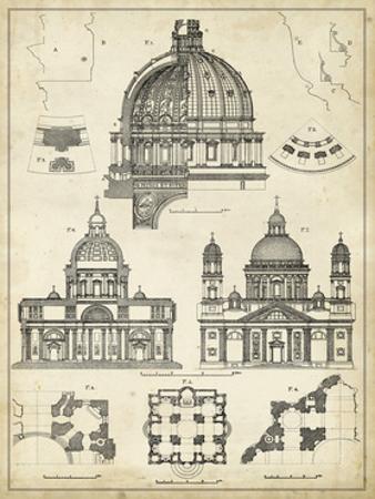 Vintage Architect's Plan II by Vision Studio
