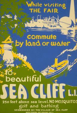 Visit Beautiful Sea Cliff Long Island NY Tourism Vintage Ad Poster Print