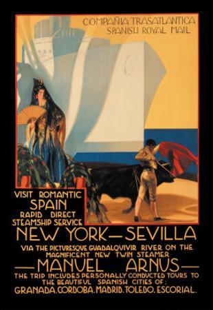 Visit Romantic Spain: Rapid Direct Steamship Service from New York to Sevilla