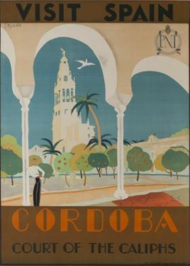 Visit Spain, Cordoba Court of the Caliphs Spanish Travel Poster