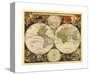 New World Map, 17th Century by Visscher
