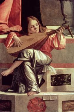 Minstrel Angel Playing a Lute, Detail from the Presentation of Jesus in the Temple, 1510 (Detail) by Vittore Carpaccio