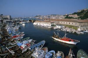 Fishing Boats in Harbor by Vittoriano Rastelli