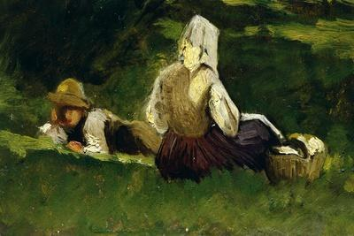 Seated Woman and Boy Lying on the Grass