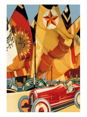Sailboat and Automobile by Vittorio Grassi