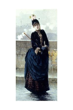 Lady on Bridge in Paris