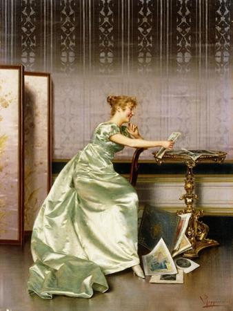An Elegant Lady Admiring a Portfolio of Prints