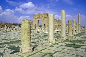 Antonine Gate and Ruined Pillars, Sbeitla, Tunisia by Vivienne Sharp