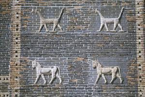 Dragons and bulls, glazed bricks, Ishtar Gate, Babylon, Iraq by Vivienne Sharp