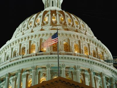 Night View of the Illuminated Dome of the Capitol Building