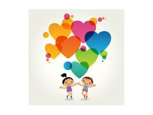 Cartoon Couple of People with Colored Hearts. Valentine Day Concept. the File is Saved in the Versi by VLADGRIN