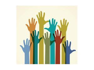 Colorful Raised Hands. the Concept of Diversity. Group of Hands. Giving Concept. by VLADGRIN