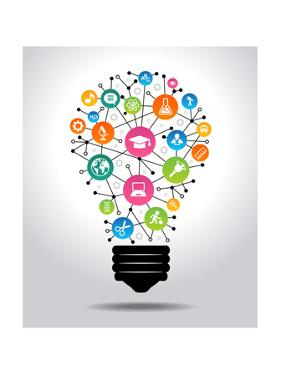 The Concept of Effective Education. Light Bulb with Colorful Education Icon. File is Saved in Ai10 by VLADGRIN