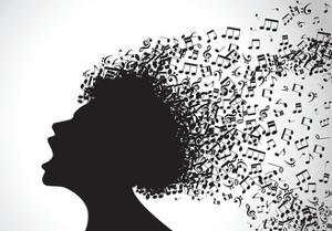 Vector Illustration of Abstract. Man Face Silhouette in Profile with Musical Hair by VLADGRIN