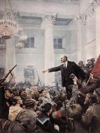 Lenin Proclaims Soviet Power, October 1917 by Vladimir Aleksandrovich Serov