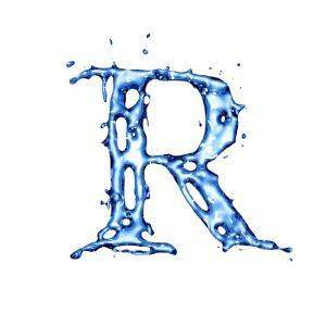 Blue Liquid Water Alphabet With Splashes And Drops - Letter R by -Vladimir-