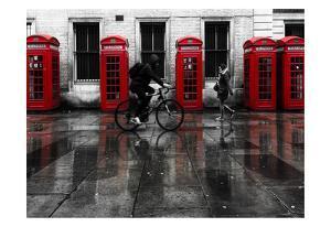 London Phone Booths People by Vladimir Kostka
