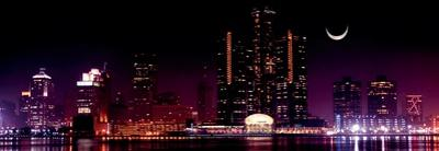 View of Detroit Skyline at Night and Moon, Michigan by Vladimir Mucibabic