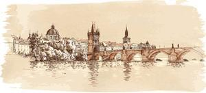 Panorama of Prague. View of Charles Bridge and the Vltava River Embankment. Vector Drawing by -Vladimir-