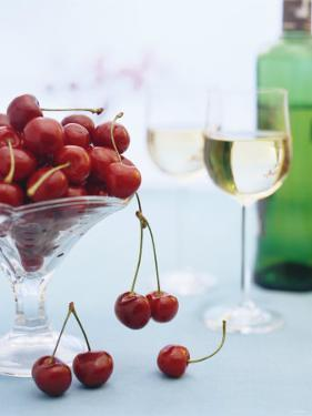 Bowl of Cherries and Two Glasses of White Wine by Vladimir Shulevsky