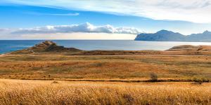 View of Koktebel Bay and Ancient Volcano Karadag, Crimea by Vladimir Sklyarov