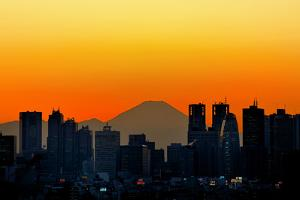 Silhouette of Tokyo's Skyscrapers and Mount Fuji by vladimir zakharov