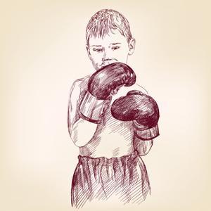 Boy Boxer - Hand Drawn Vector Llustration Realistic Sketch by VladisChern