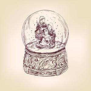 Christmas Snow Globe Hand Drawn by VladisChern