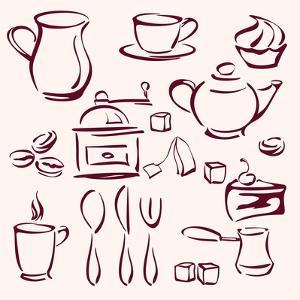 Collection of Tea Coffee and Cakes Silhouettes by VladisChern