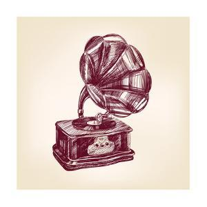Gramophone Vintage Vector Illustration by VladisChern