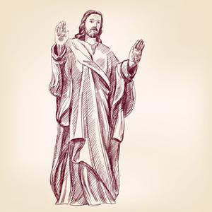 Jesus Christ Christianity Hand Drawn Vector Llustration by VladisChern