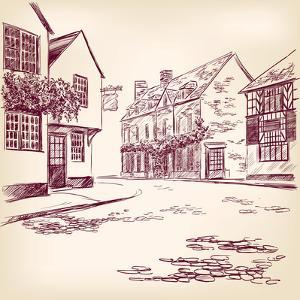Old English Street Hand Drawn by VladisChern