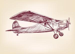 Plane Hand Drawn Vector Llustration Realistic Sketch by VladisChern