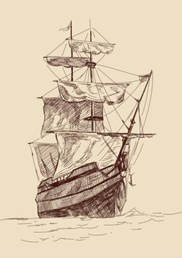 Vintage Old Ships Illustration. by VladisChern