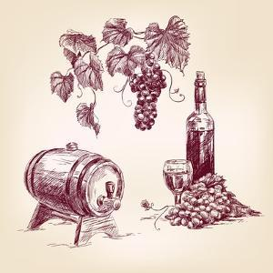 Wine Collection Hand Drawn Vintage Vector Illustration by VladisChern