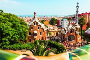 Barcelona, SPAIN - JULY 19: Ceramic Mosaic Park Guell on July 19, 2013 in Barcelona, Spain. Park Gu by Vladitto