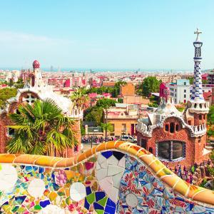 Ceramic Mosaic Park Guell in Barcelona, Spain. Park Guell is the Famous Architectural Town Art Desi by Vladitto
