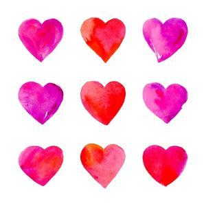 Watercolor Hearts Isolated. by Vodoleyka